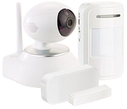 VisorTech IP Türkamera: HD-IP-Kamera mit Nachtsicht, 433-MHz-Funk, PIR- und Tür-Sensor (Alarmanlage mit Kamera)