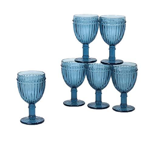 Gerimport Pack de 6 Copas de Cristal Azul Medidas 8x8x15 cm Capacidad 250 ml
