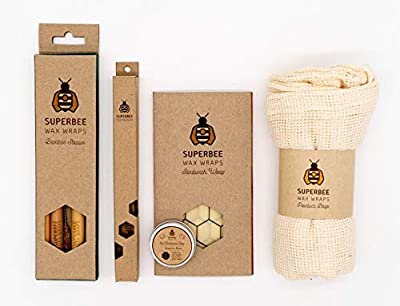 SuperBee Eco Set Gift | Zero Waste Starter Kit | 1 Beeswax Wrap L 13x13 in, 1 Bamboo Toothbrush, 5 Produce Bags, 4 Bamboo Straws with Coconut Bristle Brush & 14 Eco Toothpaste Tabs