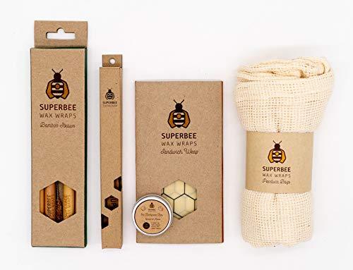 SuperBee Eco Set | 1 Bijenwas Wikkel L 33x33cm, 1 Bamboe Tandenborstel, 5 Produce Tassen, 4 Bamboe Rietjes met Kokosnoot Borstel & 14 Tandpasta Tabs