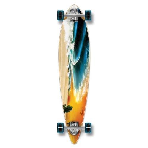 Yocaher Beach Series Complete Pintail Skateboards Longboard Cruiser w/ Black Widow Premium 80A Grip Tape Aluminum Truck ABEC7 Bearing 70mm Skateboard Wheels (Complete - Pintail - 01 - Beach)