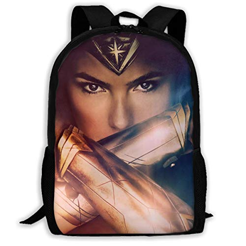 Qfunny Unisex Mochila Mochila Wonder Woman School Backpack Lunch Bag Set School Bag Boys Girls Bookbag