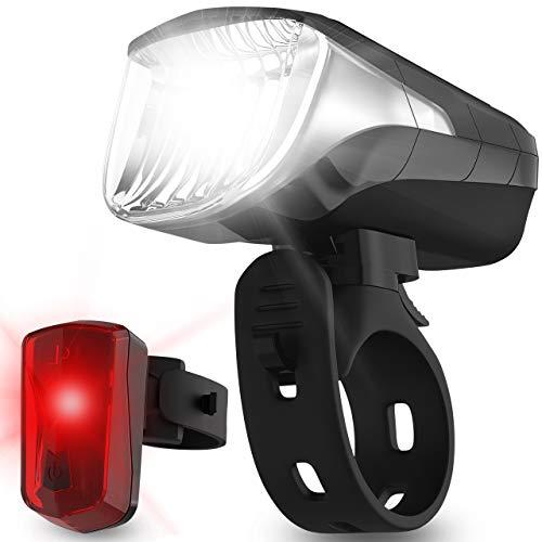 Velmia Fahrradlichter Set StVZO zugelassen mit USB Akku-Betrieb und 8,5h Leuchtdauer I LED Fahrradlicht Set regenfest und aufladbar I Fahrrad Licht