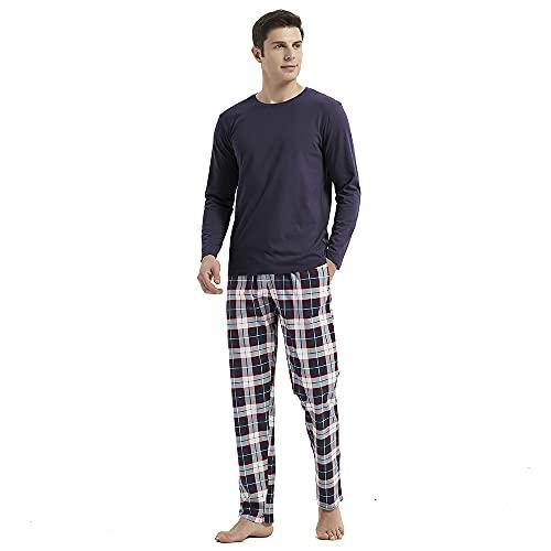 PimpamTex – Pijama Franela de Hombre con Pantalón y Manga Larga, Conjunto de Pijama de Invierno 100% Algodón y Franela para Hombre y Chico (L, Tito Azul)
