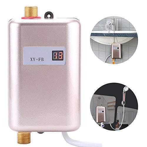 Indoor Tankless Boiler, 3KW / 3.4KW / 3.8KW Elektrische Instant Boilers met LED Digitaal Display voor Douche Badkamer Keuken,Rose golden,3800w