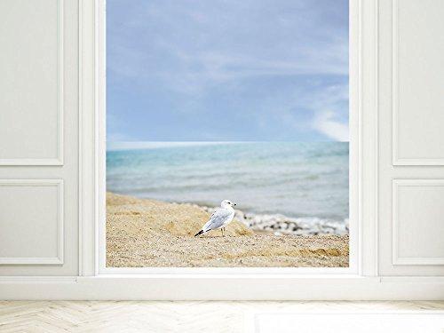 GRAZDesign Klebefolie Fenster Wellness, Milchglasfolie Fenster Maritim, Fensterschutzfolie Strand, Fensterfolie Badezimmer / 90x57cm