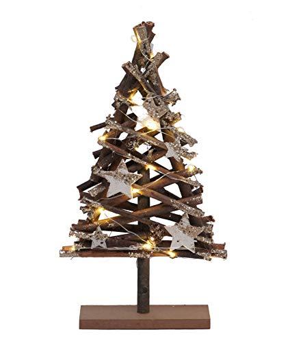 Holz Weihnachtsbaum 15 LED - 37x20x6 cm - Tischdekoration Fensterdeko Holzbaum Tannenbaum beleuchtet