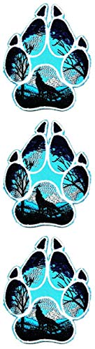 ONCEX 3PCS. Wolf Paws Patches Kids Cartoon Logo Sew Iron on Embroidered Applique Badge Sign Patch Accessory Sewing DIY Clothing Costume