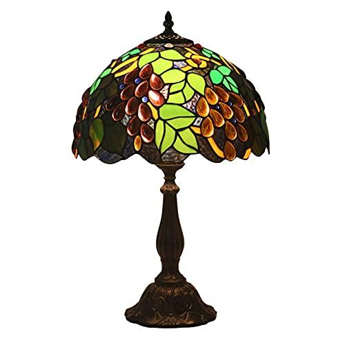 GAUUA Lámpara De Cama De Estilo Pastoral Tiffany Retro Lámpara De Mesa De Lujo 12 Pulgadas Hecho A Mano De UVA De UVA De Vitrales Lámpara De Vidrio Creativo Cálido para Salón Sala De Estar
