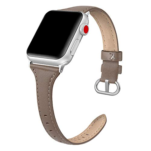 SWEES Leather Band Compatible for iWatch 38mm 40mm, Slim Thin Dressy Elegant Genuine Leather Strap Compatible for iWatch Series 6, 5, 4, 3, 2, 1, SE, Sport & Edition Women, Taupe