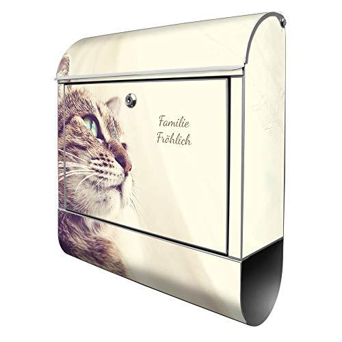 Banjado Design Briefkasten personalisiert mit Motiv Holgerson | Stahl pulverbeschichtet mit Zeitungsrolle | Größe 39x47x14cm, 2 Schlüssel, A4 Einwurf, inkl. Montagematerial