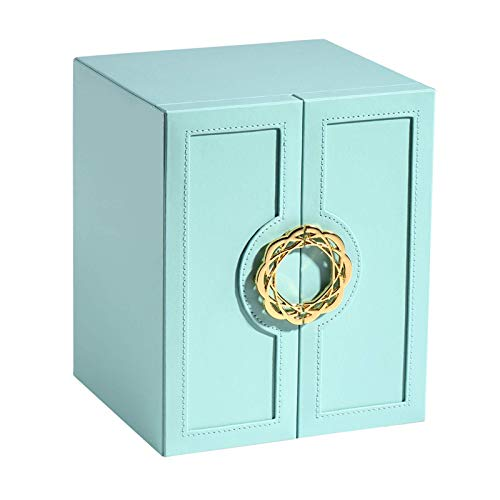 CMXUHUI Exquisite, fashionable, generous, worthy of posses Jewelry Case Luxury Leather Jewelry Box Ring Earring Necklace Watch Storage Box Household 5-layer Jewelry Box Jewelry Box (Color : Blue)