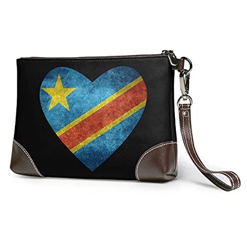 XCNGG Bandera del corazón del Congo Hombres 'S y mujeres' Embragues de cuero Carteras de piel de vaca real Bolsas de almacenamiento Bolsas de teléfono inteligente