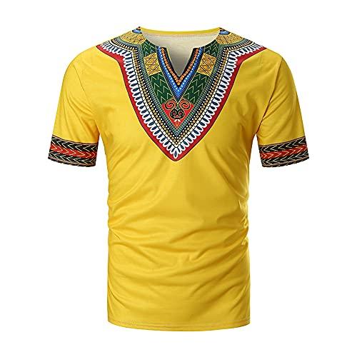Shirt Spiaggia Uomo Estate Scollo A V Stampa Uomo Tempo Libero Shirt Splicing Traspirante Uomo Shirt Maniche Corte Tendenza Campeggio Leggera Uomo T-Shirt E-Yellow L