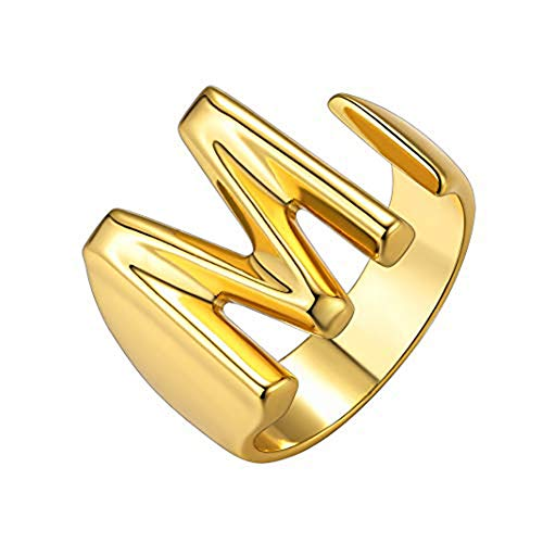 Junxin A-Z Stacking Initial Letter Ring, Personalized Bold Initial Letter Adjustable Open Ring, 26 Alphabet 14K Letter Rings for Women Teens Silver Gold Rose Gold (Gold, R)