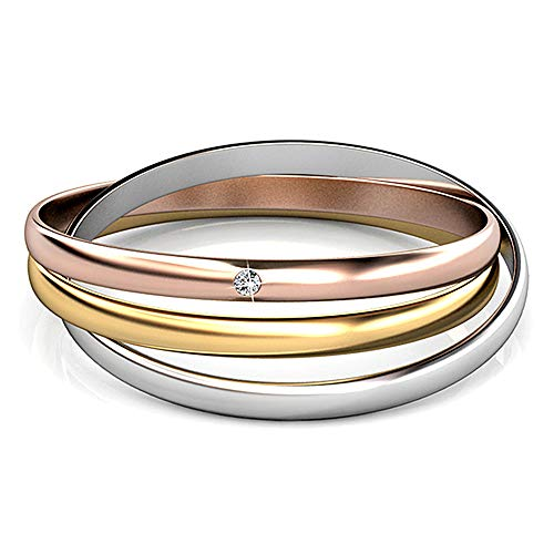 Silver & Post New! 18k Gold Plated Tri Color 3pc Interlocked Bangle Bracelet with Premium Austrian Crystals. Fancy Burlap Gift Box Included.
