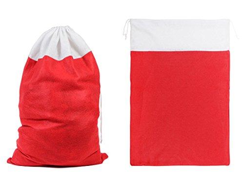 Kerstmis decoratieve geschenkzak 50x70 cm stof kerstman zak van Alsino Wb-05 rood/wit.