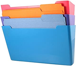 US-Works Wall File Pocket, Assorted Colors, (Pink, Purple, Blue), Letter Size, Pack of 3 (27275)