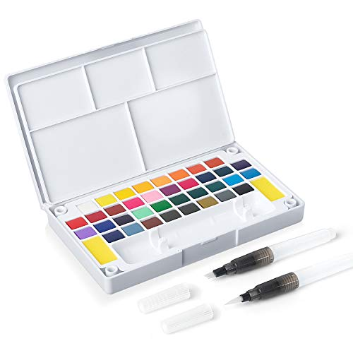 SAKEYR Travel Watercolor Paint Set - 36 Watercolors - Portable Pocket Watercolor Painting Kit with Ring Grip- 2 Water Brush Pen, 2 Sponges and Mixing Palette - Perfect for Beginners and Professionals