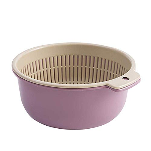 Zeef Double Fruit Drain Basket Kitchen Vegetable Scheiding plantaardige mand Noodle Rice Cleaning Zeef Dripping Paars-China