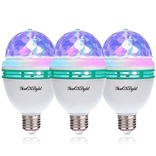 E26 Disco Light Bulb Rotating RGB Party Light Lamp LED Strobe Bulb Strobe Light Multi Crystal Disco Bulb for Disco Birthday Party Club Bar Karokee Halloween Christmas, 3 Pack