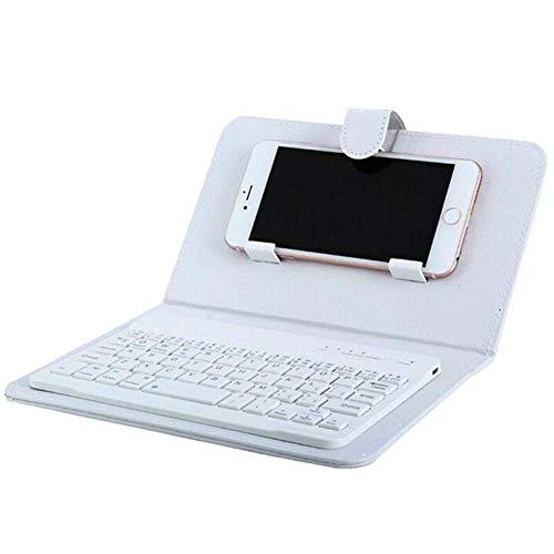 Reuvv Mini Teclado Bluetooth Inalámbrico Portátil Teclado con Funda de Piel para Smartphone Compatible con Todos iOS, Mac, iPad, iPhone, Smart TV Samsung Tabletas Teléfonos Windows - Blanco