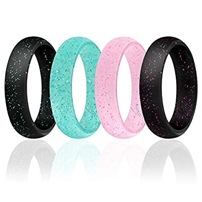 ROQ Silicone Wedding Ring for Women, Set of 4 Silicone Rubber Wedding Bands - Black with Glitter Sparkle Pink, Glitter Teal Turquoise, Glitter Pink - Size 4