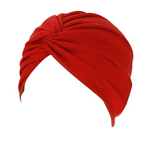 Lazzboy Frauen-Indien-Hut moslemischer Rüsche Beanie-Turban-Wickelkappen-Winter-Hut Damen Turban Kopfbedeckung Fashion in verschiedenen Farben(D)