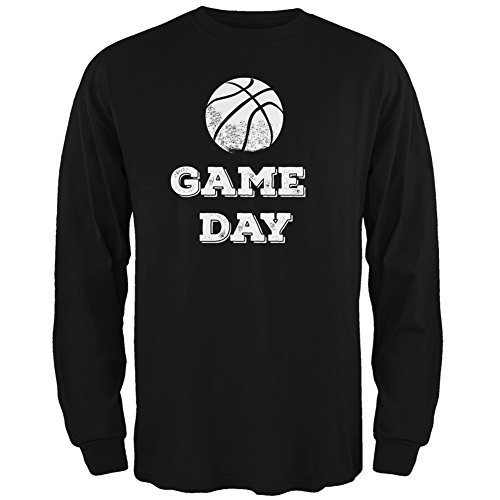 Game Day Basketball Black Adult Long Sleeve T-Shirt - X-Large
