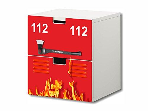 STIKKIPIX Bomberos Pegatinas Muebles | S2K02 | Adecuado para la cómoda con 2 cajónes STUVA de IKEA | (Mueble no Incluido)