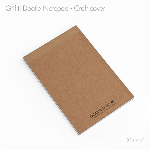 """Grifiti Dootle Pad 5"""" X 7.5"""" Mini Junior Legal 5 Pack Brown Craft Art Cover Fits Dootle Mini Folio Blue 0.5"""" Ruled 0.125"""" Grid Front Blank Back Paper Notepad for Writing Notes, Drawing, Doodling"""