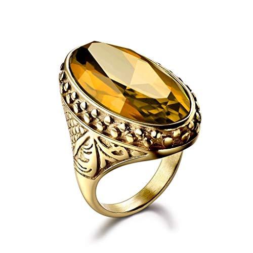 K Jewelry Mens Signet Yellow Citrine CTR Celtic Band Gold Steel Biker Rings Gift (10)