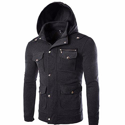 VECDY Herren Jacken,Räumungsverkauf-Herren Männer Tasche Solide Mantel Jacke Pullover Sweatshirt Hoodie Langarm Oberbekleidung Knopf warme Jacke Herbstkleid(Dunkelgrau,48)