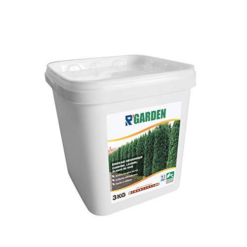 R'Garden - Concime Organico per conifere, Alloro e Piante di siepe, Fertilizzante Naturale, nutriente in profondità, Facile da Usare, 3 kg
