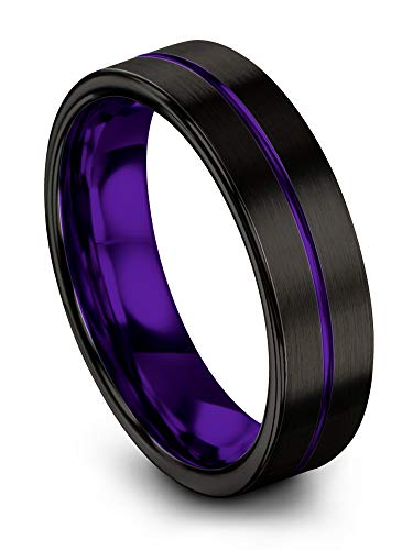 Chroma Color Collection Tungsten Carbide Wedding Band Ring 6mm for Men Women Purple Interior with Purple Center Line Flat Cut Brushed Polished Comfort Fit Anniversary Size 9