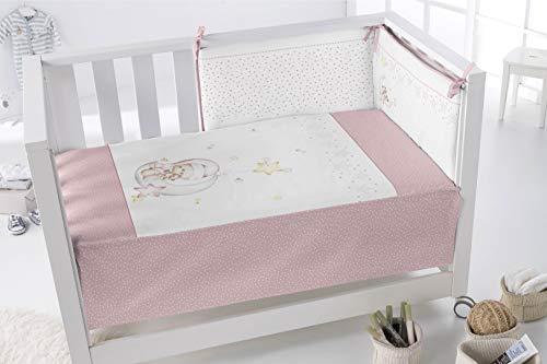 PIELSA BABY - 3376-14 | Edredón Más Protector Cuna | Edredón Más Protector Bebe | Edredón Más Protector Bebe Cama | Color Rosa | Tamaño 120X60