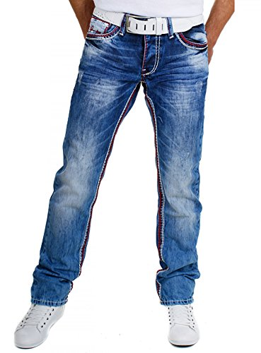 Amica Herren Denim Kontrast Jeans Hose Straight Legs gerade Passform Vintage Look Kontrastnähte 9574, Grösse:W30, Farbe:Blau/Rot