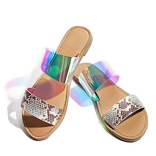 AKPO Sandalias Hermosas para Mujer Llegada de Verano Europa y América Sandalias Transparentes con Diapositivas de gelatina para Mujer Zapatos de Playa Multi Color Mixed Media-40