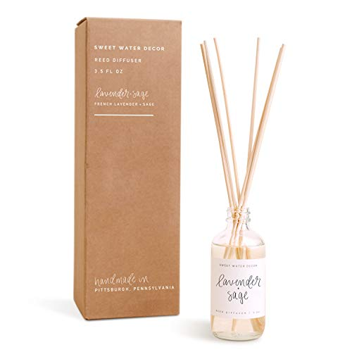 Sweet Water Decor | Reed Diffuser Set | Lavender & Sage Scent for Home and Office | Lasts for 3+ Months | Premium Fragrance Oils | Made in The USA