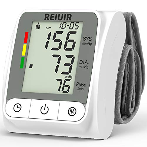 Wrist Blood Pressure Monitor BP Cuff Automatic Accurate Blood Pressure Machine Heart Pulse Rate Monitoring Meter 2×120 Sets Memory LCD Display Screen for Home Office Use White
