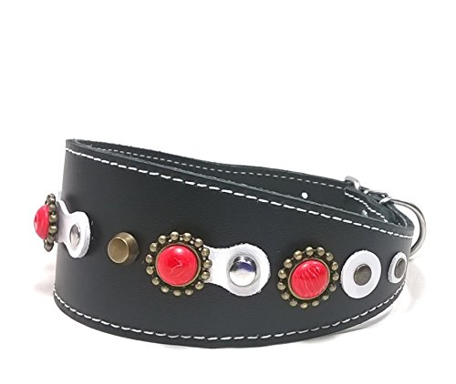 Superpipapo Original Collar de Cuero para Galgo, Podenco, Whippet y Teckel, Exclusivo Blanco Negro con Tachas y Piedras de Coral Rojo, 45 cm Galgo: Cuello 33-38 cm, Ancho 55mm