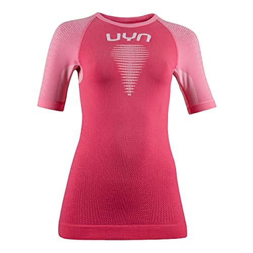 UYN Marathon OW SH_SL Shirt Camiseta para Mujer, Flamenco/Flamingo Light/White, Small/Medium