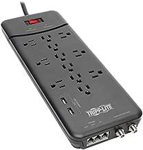 Tripp Lite TLP128TTUSBB 12 Outlet Surge Protector Power Strip, 2 USB Charging Ports, Tel/Modem/Coax Protection, 8ft Cord Right Angle Plug, Black, Lifetime Insurance & $150K Insurance