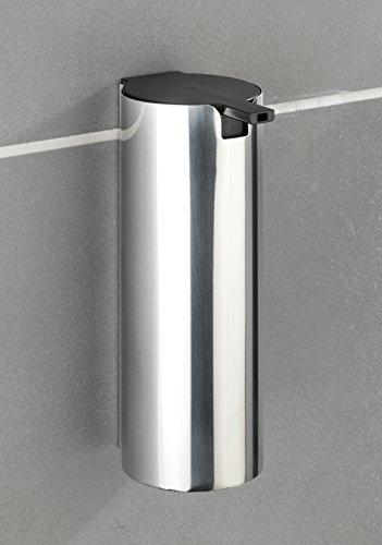 Wenko Turbo-Loc Edelstahl Seifenspender Detroit - Wand Flüssigseifen-Spender, Befestigen ohne bohren Fassungsvermögen: 0,24 l, Edelstahl rostfrei, 6 x 16,5 x 8 cm, glänzend