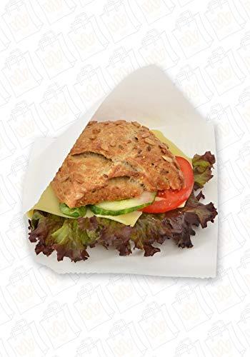 Snacktaschen für Hamburger 15 x 16cm, fettdicht, Pergament-Ersatz, Fischbrötchen, Dönertaschen, To Go-Snackbeutel, Sandwich Tasche, 2-seitig offen, weiß und unbedruckt Größe 100 Stück
