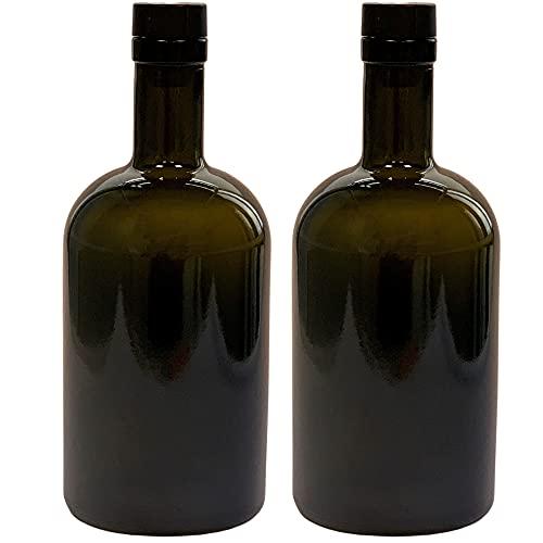 Aceitera (2 unidades, 500 ml, cristal, con boquilla y tapa), color negro