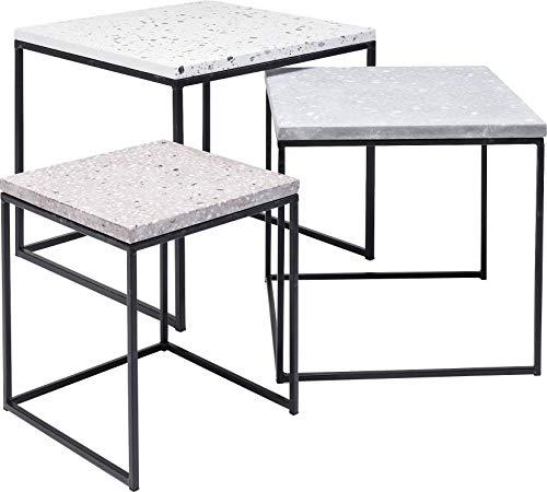 Kare Design bijzettafel Terrazzo rond (3/set) Square 48 x 48 x 43