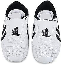 Taekwondo Shoes Kung Fu Taekwondo Indoor Mat Training Shoes 10 Sizes Soft Rubber Soles Martial Arts Sneaker for Women Men Kong Fu Taichi (33) White