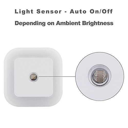 Homelight 0.5W LED Plug-in Light Sensor Night Light, Lamps for Baby Children Kids Room, Hallway, Stairs, Bedrooms, Nursery(4 Packs-White)