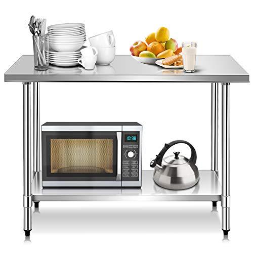 COSTWAY Edelstahl Küchentisch Arbeitstisch Gastro Tisch Edelstahltisch Zubereitungstisch mit Zwischenbord (122 x 61x 90cm)